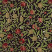 Moda - Morris Holiday Metallic - 5876 - V&A Pomegranate Floral on Black - 7312 14M - Cotton Fabric